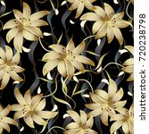 3d gold floral seamless pattern.... | Shutterstock .eps vector #720238798