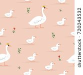 seamless swan pattern with kids | Shutterstock .eps vector #720243532