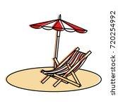 beach umbrella with chair | Shutterstock .eps vector #720254992