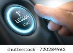 beginner about to start a car... | Shutterstock . vector #720284962