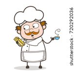 cartoon chef holding a book of...   Shutterstock .eps vector #720292036