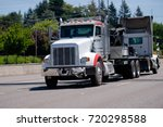 a powerful big rig semi truck...   Shutterstock . vector #720298588