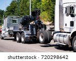 a powerful big rig semi truck...   Shutterstock . vector #720298642