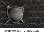medieval shield with crossed... | Shutterstock . vector #720299632