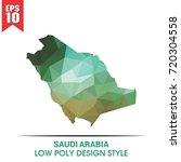 saudi arabia map in low poly | Shutterstock .eps vector #720304558