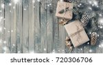 christmas background with gift... | Shutterstock . vector #720306706