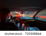 city road view from inside car... | Shutterstock . vector #720308866