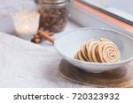 homemade cinnamon roll cookies  ... | Shutterstock . vector #720323932