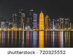Stock photo doha skyline at night qatar middle east 720325552