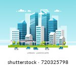 urban landscape with buildings  ... | Shutterstock .eps vector #720325798