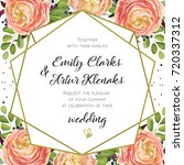 Stock vector wedding invitation floral invite card design with pink peach rose ranunculus elegant blue berry 720337312