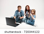 happy family father  mother and ...   Shutterstock . vector #720344122