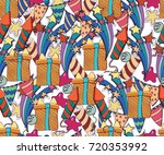 cute brightly holiday seamless... | Shutterstock .eps vector #720353992