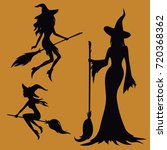 witch silhouette vector set | Shutterstock .eps vector #720368362