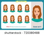 set of woman expression... | Shutterstock .eps vector #720380488