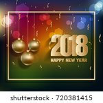 happy new year 2018 greeting... | Shutterstock .eps vector #720381415