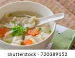 close up minced pork wonton... | Shutterstock . vector #720389152