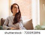 the young beautiful woman lying ...   Shutterstock . vector #720392896