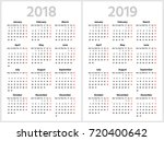 simple calendar for 2018 and... | Shutterstock .eps vector #720400642