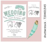 wedding invitation cards set.... | Shutterstock .eps vector #720401545