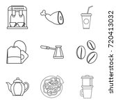 coffee on street icons set.... | Shutterstock .eps vector #720413032