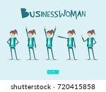 funny businesswoman standing in ...   Shutterstock .eps vector #720415858