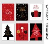 set of 6 christmas greeting... | Shutterstock .eps vector #720418696