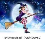 witch halloween friendly... | Shutterstock .eps vector #720420952