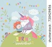 cute girl hugging unicorn.... | Shutterstock .eps vector #720429856