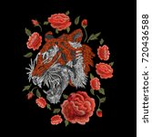 tiger and roses  orange.... | Shutterstock .eps vector #720436588