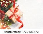 christmas gift box on wooden... | Shutterstock . vector #720438772