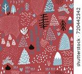 winter seamless pattern.... | Shutterstock .eps vector #720442342