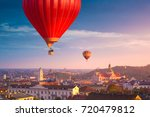 hot air balloons flying over... | Shutterstock . vector #720479812