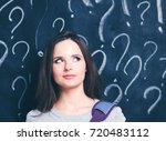 young girl with question mark... | Shutterstock . vector #720483112