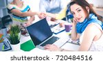 business people shaking hands ... | Shutterstock . vector #720484516