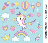 unicorn pop art collection ...   Shutterstock .eps vector #720485362