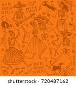 seamless pattern with skeletons.... | Shutterstock .eps vector #720487162