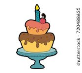delicious cake with candle | Shutterstock .eps vector #720488635