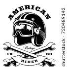 illustration of biker helmet... | Shutterstock .eps vector #720489142