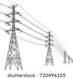 high voltage pole | Shutterstock .eps vector #720496105