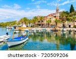 fishing boats in splitska... | Shutterstock . vector #720509206