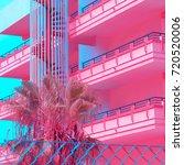 minimal urban pink. tropical... | Shutterstock . vector #720520006
