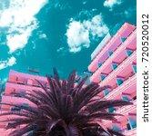 pink minimal fashion. palm... | Shutterstock . vector #720520012