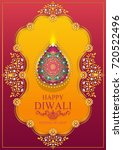 happy diwali festival card with ... | Shutterstock .eps vector #720522496