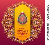 happy diwali festival card with ... | Shutterstock .eps vector #720522502