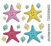 collection of starfish with... | Shutterstock .eps vector #720530602