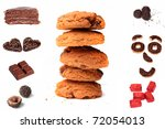 Chocolate and cookies collage - stock photo
