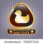 gold emblem with rubber duck...   Shutterstock .eps vector #720557122
