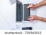 woman is working on laptop....   Shutterstock . vector #720562012