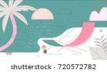 beach summer vector illustration | Shutterstock .eps vector #720572782